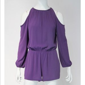 Tyche purple cold shoulder romper with pocketsNWOT